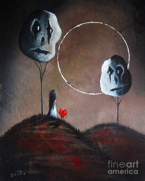 Red Moon Painting - I Think We Went The Wrong Way By Shawna Erback by Erback Art