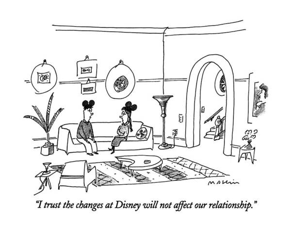 Disney Drawing - I Trust The Changes At Disney Will Not Affect by Michael Maslin