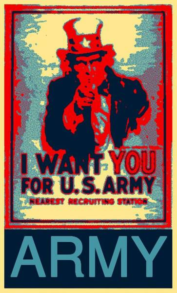Digital Art - I Want You Us Army by Barbara Snyder