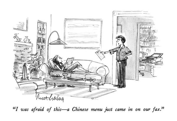 Advertising Drawing - I Was Afraid Of This - A Chinese Menu Just Came by Mort Gerberg