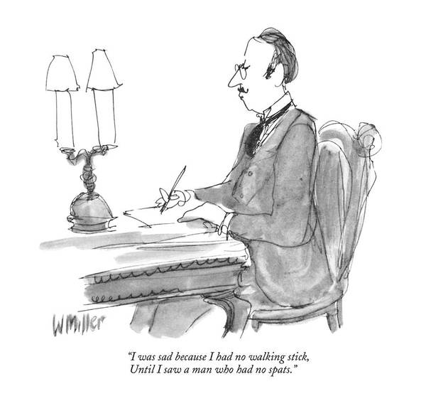 Elegant Drawing - I Was Sad Because I Had No Walking Stick by Warren Miller