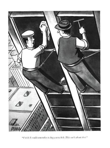 Drawing - I Wish I Could Remember To Buy A New Belt. This by Peter Arno