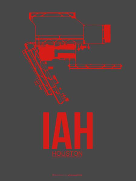 Wall Art - Digital Art - Iah Houston Airport Poster 1 by Naxart Studio