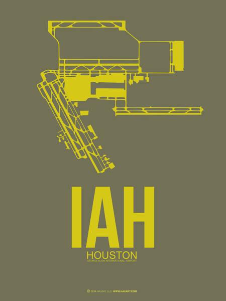 Texas Digital Art - Iah Houston Airport Poster 2 by Naxart Studio