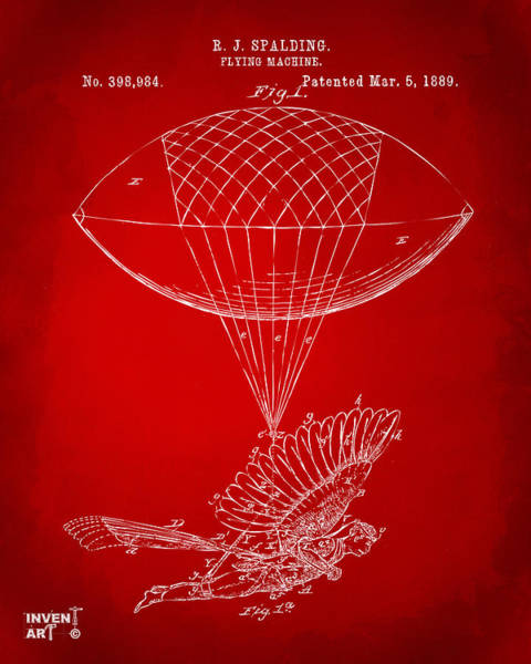 Wall Art - Digital Art - Icarus Airborn Patent Artwork Red by Nikki Marie Smith