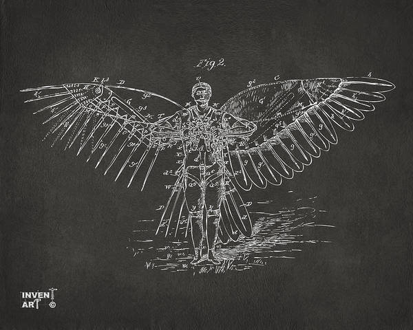 Wall Art - Digital Art - Icarus Flying Machine Patent Artwork Gray by Nikki Marie Smith