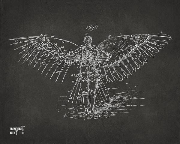 Blueprint Digital Art - Icarus Flying Machine Patent Artwork Gray by Nikki Marie Smith