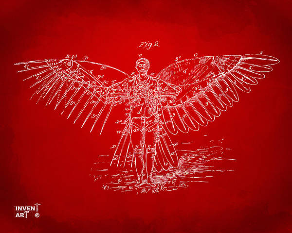 Digital Art - Icarus Flying Machine Patent Artwork Red by Nikki Marie Smith