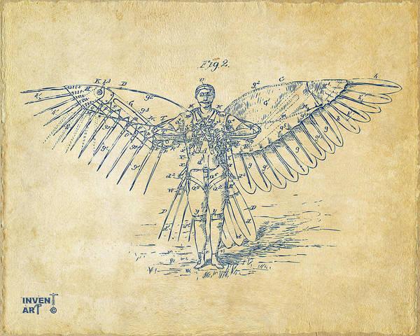 Digital Art - Icarus Flying Machine Patent Artwork Vintage by Nikki Marie Smith