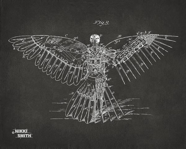 Digital Art - Icarus Human Flight Patent Artwork - Gray by Nikki Marie Smith