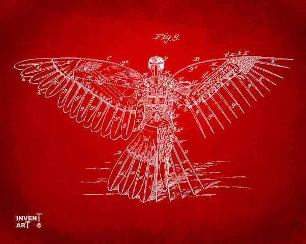 Digital Art - Icarus Human Flight Patent Artwork Red by Nikki Marie Smith