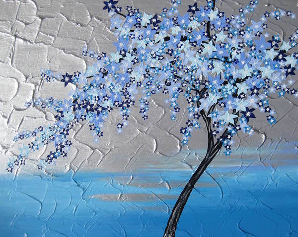 Framing Painting - Ice Blue Cherry Blossom by Cathy Jacobs