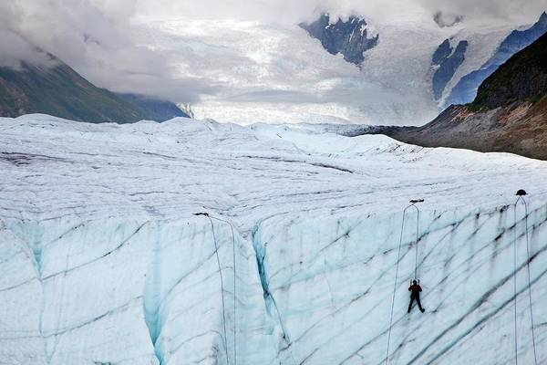 Lessons Photograph - Ice Climber On A Glacier by Jim West