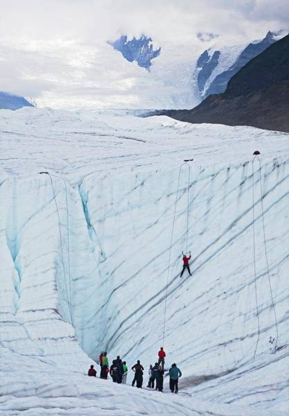 Lessons Photograph - Ice-climbing Class On A Glacier by Jim West