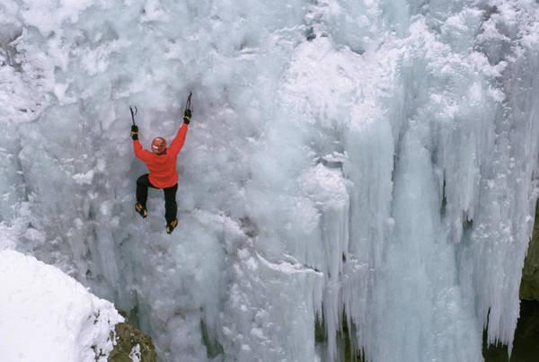 Box Canyon Wall Art - Photograph - Ice Climbing, Colorado by Randy Barnes