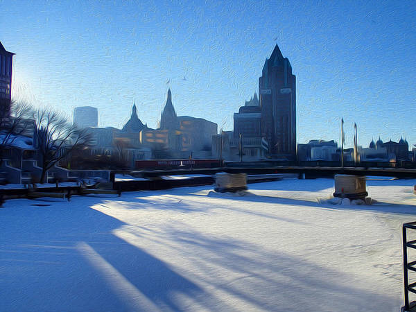 Frozen River Digital Art - Ice Cold Milwaukee by Geoff Strehlow
