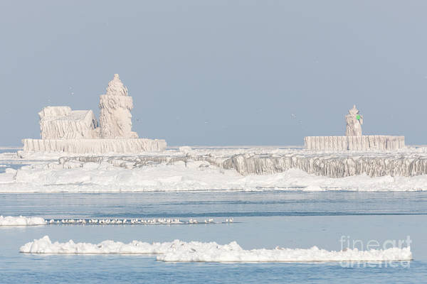 Photograph - Ice Covered Cleveland Harbor Lighthouses by Clarence Holmes