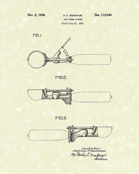 Drawing - Ice Cream Scoop 1938 Patent Art by Prior Art Design