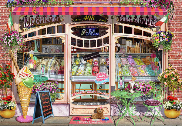 Wall Art - Painting - Ice Cream Shop Window by MGL Meiklejohn Graphics Licensing