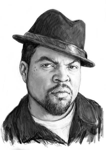Cube Painting - Ice Cube Art Drawing Sketch Portrait by Kim Wang