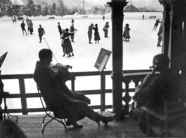 1924 Photograph - Ice Dancing In Switzerland by Underwood Archives