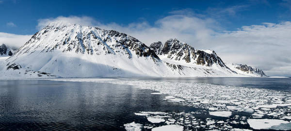 Peacefulness Photograph - Ice Floes On Water With A Mountain by Panoramic Images