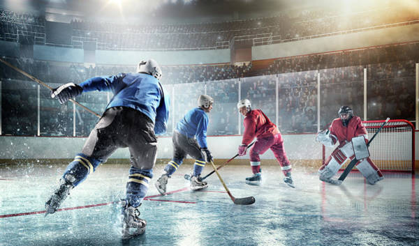 Sport Venue Photograph - Ice Hockey Players In Action by Dmytro Aksonov