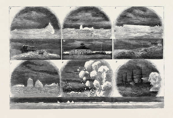 Wall Art - Drawing - Ice In The Atlantic Ocean 1. Iceberg One Mile by English School