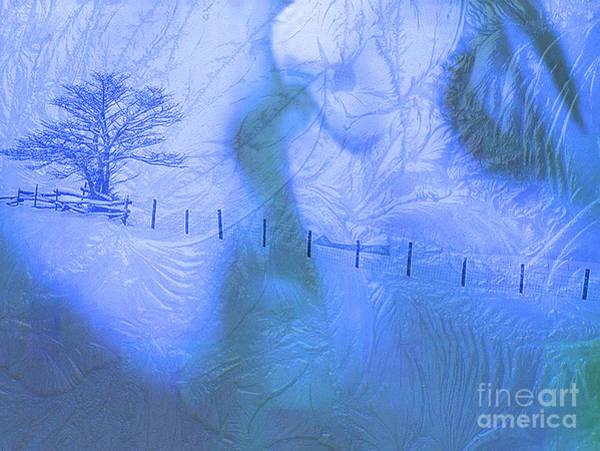Snow Fence Digital Art - Ice Kiss Blue by Maureen Tillman