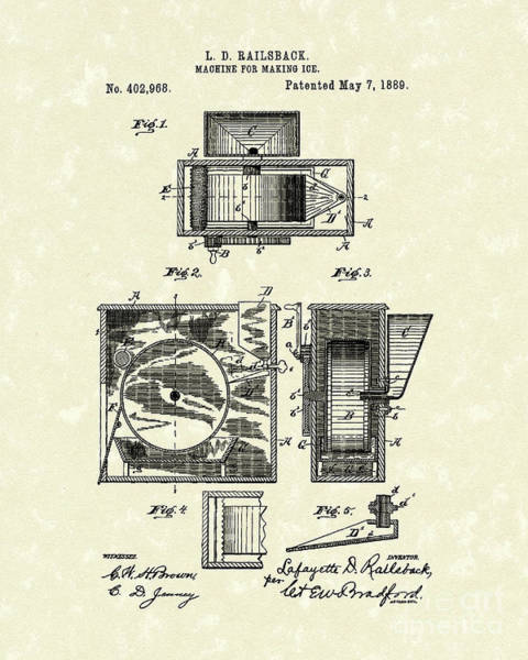 Drawing - Ice Machine 1889 Patent Art by Prior Art Design