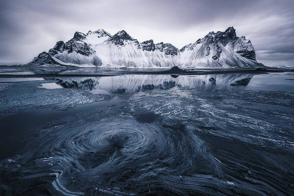 Blue Ice Photograph - Ice On Stokksnes by Jorge Ruiz Dueso
