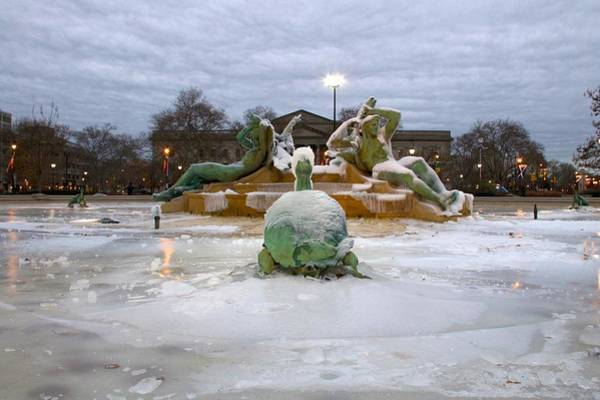 Photograph - Ice On The Fountain by Alice Gipson
