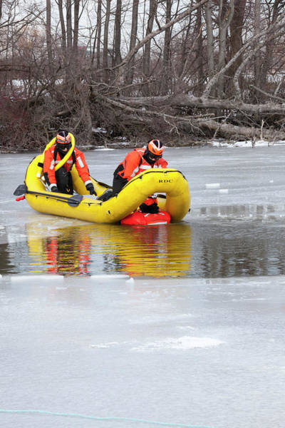 Belle Isle Photograph - Ice Rescue Demonstration by Jim West/science Photo Library