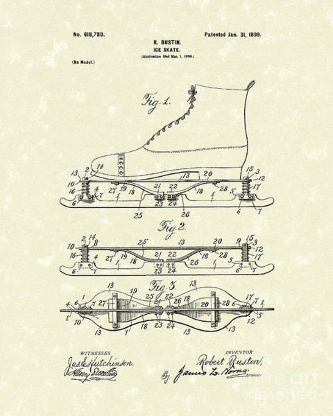 Drawing - Ice Skate 1899 Patent Art by Prior Art Design