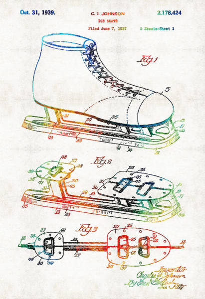 Skating Painting - Ice Skate Patent - Sharon Cummings by Sharon Cummings