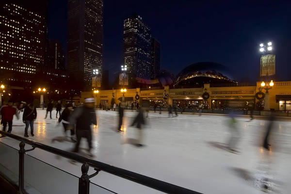 Photograph - Ice Skaters By The  Bean by Sven Brogren