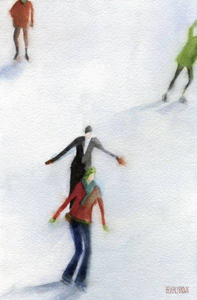 Skating Painting - Ice Skaters Watercolor Painting by Beverly Brown