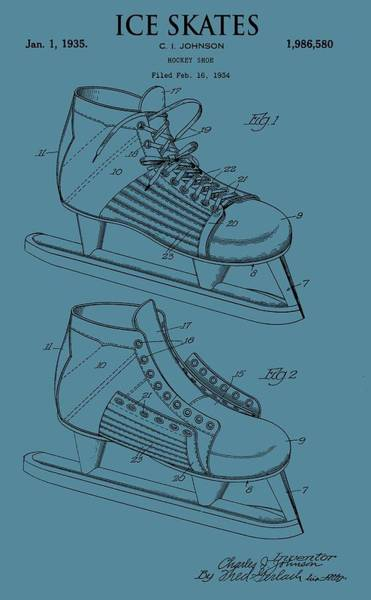 Blades Mixed Media - Ice Skates Patent On Blue by Dan Sproul