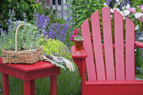Trowel Photograph - Ice Tea Rests On Red Chair While by Jaynes Gallery