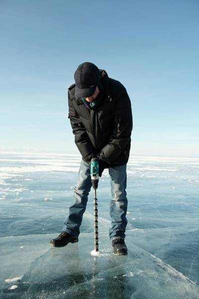 Drill Photograph - Ice Thickness Measuring by Louise Murray