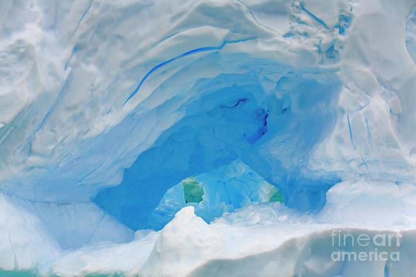 Photograph - Dark Blue Hollow Iceberg by Yva Momatiuk John Eastcott