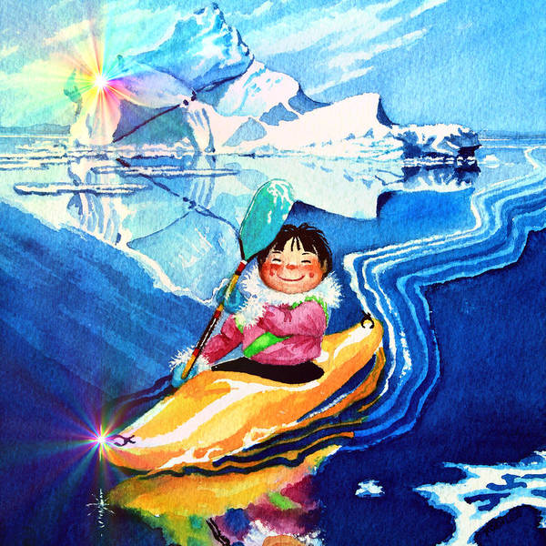 Wall Art - Painting - Iceberg Kayaker by Hanne Lore Koehler