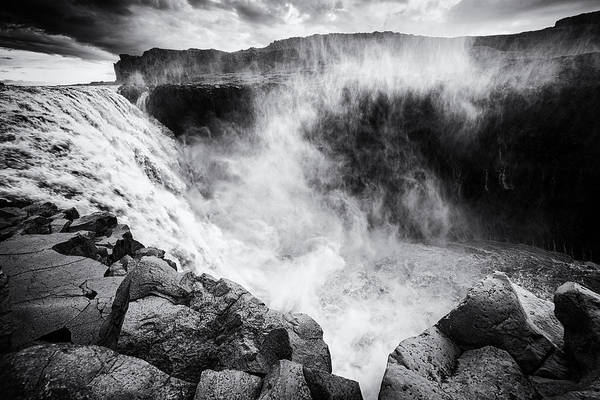 Photograph - Iceland Dettifoss Waterfall Black And White by Matthias Hauser