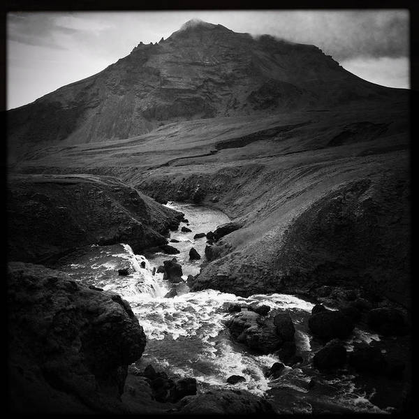 Iceland Landscape With River And Mountain Black And White Art Print
