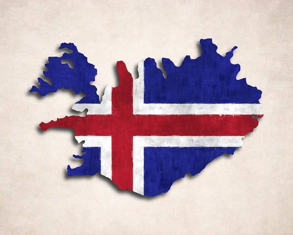 Iceland Digital Art - Iceland Map Art With Flag Design by World Art Prints And Designs