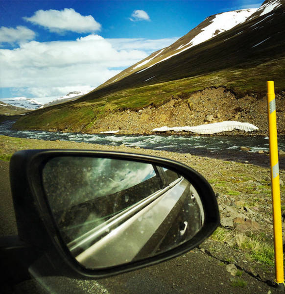 Car Photograph - Iceland Roadtrip - Landscape And Rear Mirror Of Car by Matthias Hauser