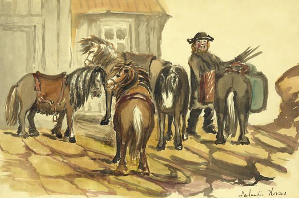 Faroe Island Wall Art - Painting - Icelandic Horses Circa 1862 by Aged Pixel