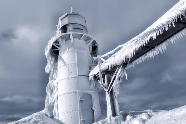 Wall Art - Photograph - Icicles On Lighthouse In Michigan by Dan Sproul
