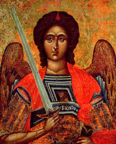 Greek Icon Painting - Icon Of The Angel Michael by Greek School