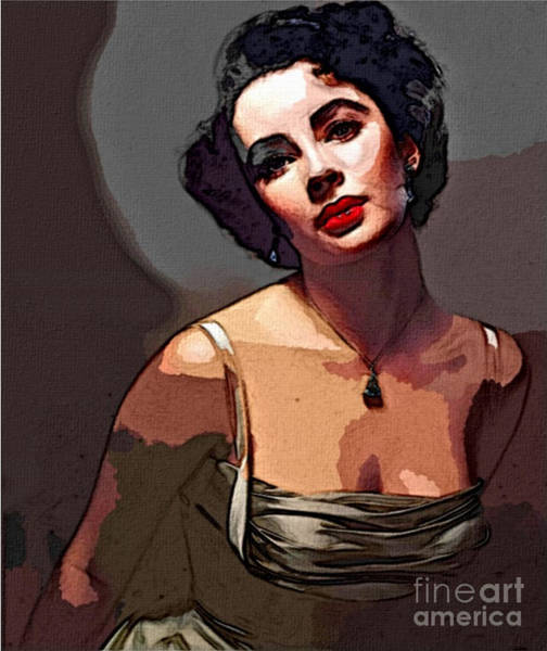 Liz Digital Art - Icon Series - Elizabeth Taylor by Dolly Mohr